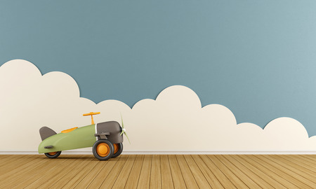 Photo pour Empty playroom with toy airplane on wooden floor  and clouds - 3D Rendering - image libre de droit