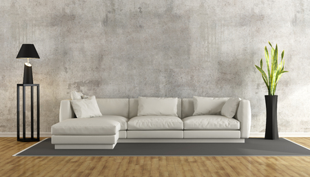 Photo pour Minimalist living room with grunge concrete wall and white sofa on carpet - 3D Rendering - image libre de droit