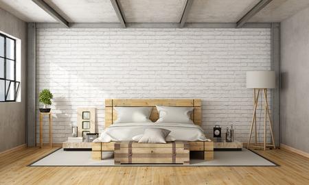 Foto de Wooden double bed in loft with brick wall and iron beams - 3D Rendering - Imagen libre de derechos