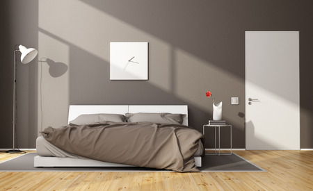 Foto de Brown modern bedroom with white double bed and closed door - 3D Rendering - Imagen libre de derechos
