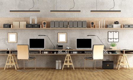 Photo for Minimalist architectural office with two workstation - 3d rendering - Royalty Free Image