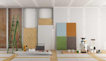 Foto de architectural restoration of an old room and selection of the color swatch - 3d rendering - Imagen libre de derechos