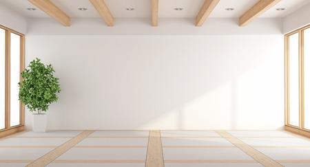 Foto de Empty white living room with windows and wooden beams - 3d rendering - Imagen libre de derechos