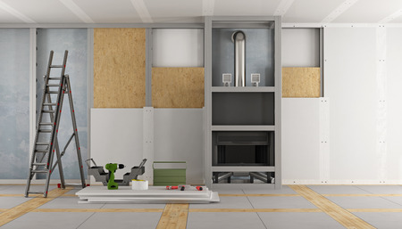 Photo pour Renovation of an old house and fireplace paneling with drywall panels 3d rendering - image libre de droit