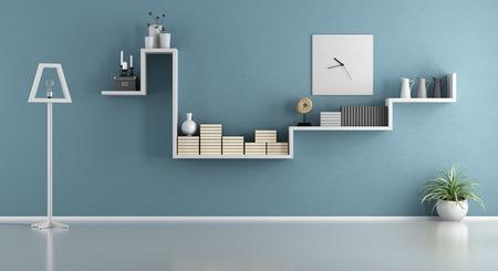 Foto de Empty blue living room with shelf and floor lamp - 3d rendering - Imagen libre de derechos