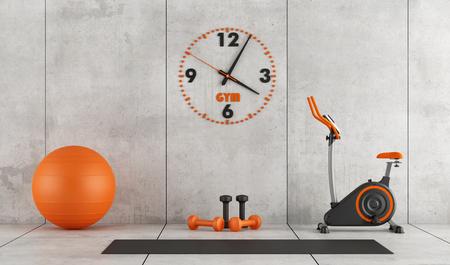 Foto de Concrete room with stationary bike, pilates ball and hand weight - 3d rendering - Imagen libre de derechos
