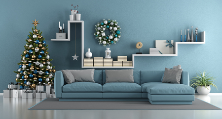 Photo pour Blue modern living room with christmas tree,elegant sofa and white shelf with decor objects - 3d rendering - image libre de droit