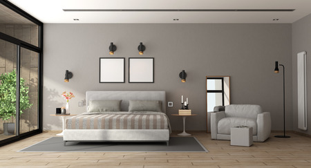 Photo for Contemporary master bedroom with bed and armchair - 3d rendering - Royalty Free Image