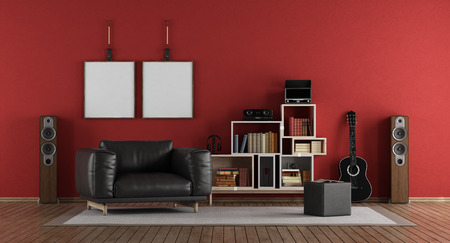 Photo for Red music room with black armchair - 3d rendering - Royalty Free Image