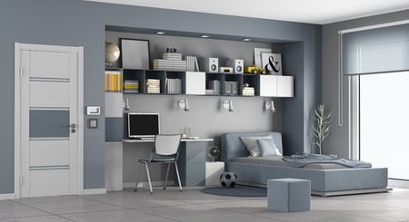 Photo for Blue and gray teen room with single bed,desk and bookcase - 3d rendering - Royalty Free Image
