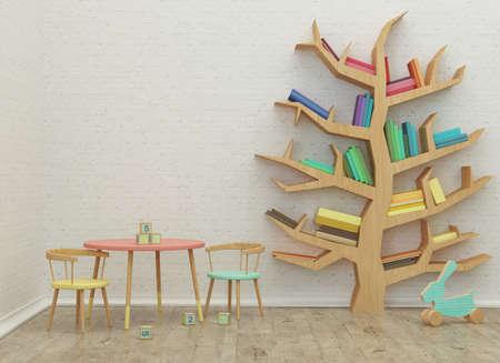 Foto de kids game room interior 3d rendering image with colorful books and toys - Imagen libre de derechos