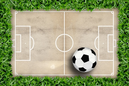 Soccer field pattern and football in green grass frame