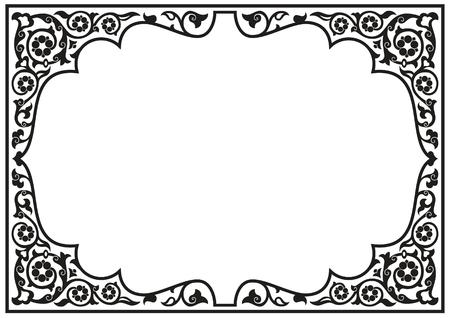 Ilustración de Tatar traditional ornamental floral border. Oriental style turkish islamic pattern. High quality hand made arabic decor in black and white color. - Imagen libre de derechos