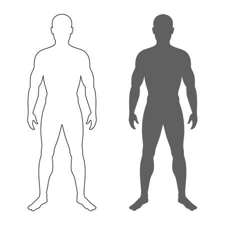 Ilustración de Male human body silhouette and contour. Isolated mens symbols  on white background. Vector illustration - Imagen libre de derechos