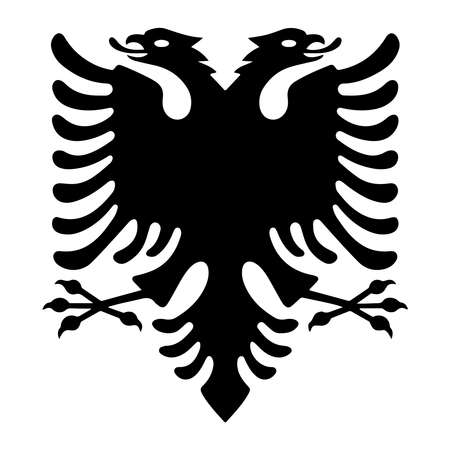 Illustrazione per Albanian eagle with two heads. Isolated black symbol on white background. Albanian flag and coat of arms. Sign vector illustration - Immagini Royalty Free