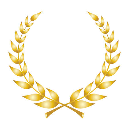 Illustration pour Laurel wreath icon. Emblem made of laurel branches. Golden laurel leaves symbol of high quality olive plants. Golden sign isolated on white background. Vector illustration - image libre de droit