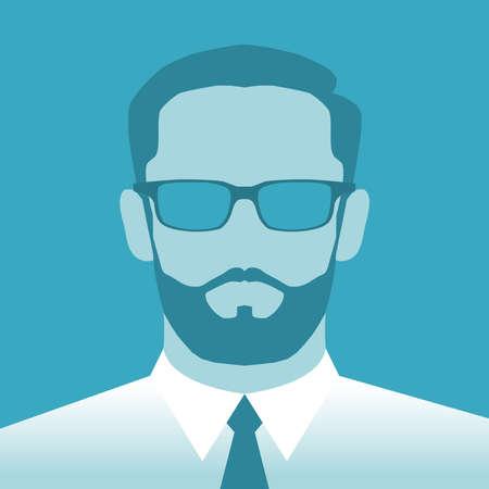 Illustrazione per Abstract sign avatar men. Icon male profile. Symbol on green background. Vector illustration - Immagini Royalty Free