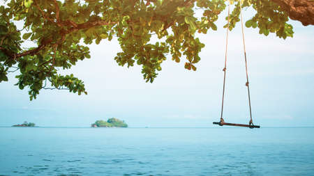 Photo pour Summer sea beach and island background with swing on tree and blue ocean view natural island seascape for relaxation and travel concept - image libre de droit