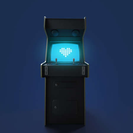 Foto per A vintage arcade game machine cabinet with pixel heart icon colorful controllers and a screen isolated. - Immagine Royalty Free