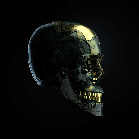 Photo pour Robot cyborg skull with dark surface and golden glossy elements side wiev isolated on black background, 3D render - image libre de droit
