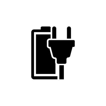 Ilustración de Rechargeable Battery. Flat Vector Icon. Simple black symbol on white background - Imagen libre de derechos