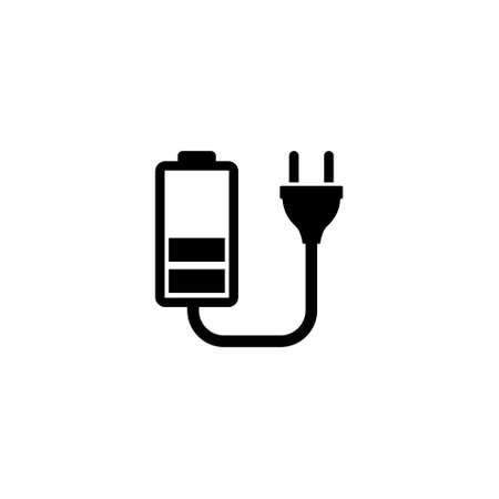 Ilustración de Battery Charge. Flat Vector Icon illustration. Simple black symbol on white background. Battery Charge sign design template for web and mobile UI element - Imagen libre de derechos
