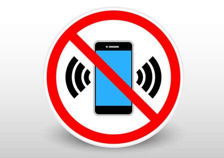 Illustration pour silent phone speaker sign - image libre de droit