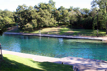 A nice shot of Barton Springs pool in downtown Austin, Texas.
