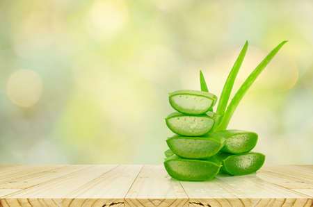 Photo for Aloe Vera on product display wood counter background. - Royalty Free Image