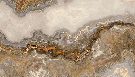 Photo pour Beautiful grey curly marble with golden veins. Abstract texture and background. 2D illustration - image libre de droit