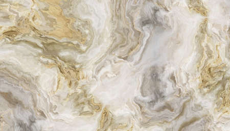 Foto de White marble pattern with curly grey and gold veins. Abstract texture and background. 2D illustration - Imagen libre de derechos