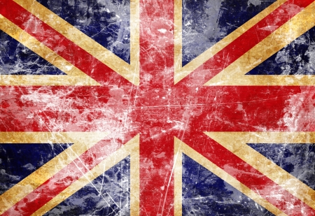 UK flag with a vintage and old look mural
