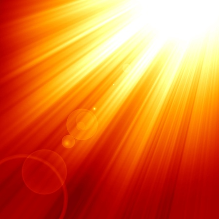 Photo for Red sun with an intense glow and sun beams - Royalty Free Image