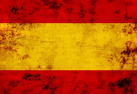 Spanish flag with a vintage and old look mural