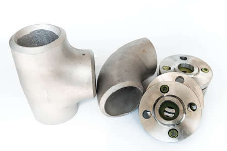 Photo pour Stainless steel fitting and flange - image libre de droit
