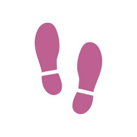 Ilustración de Black imprint soles shoes icon, flat design style. - Imagen libre de derechos