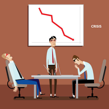 Illustration pour Vector illustration on color background featuring businessmen on meeting with negative graph - image libre de droit