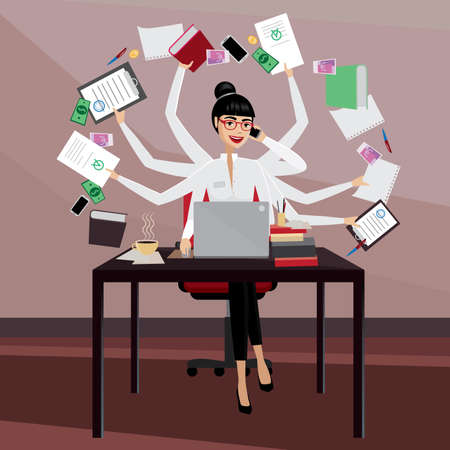 Illustration pour Multitasking business woman working in the workplace - image libre de droit