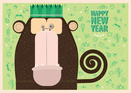 Happy New Year greeting card with monkey for travel people