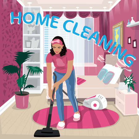 Illustration pour Nanny vacuums children room - image libre de droit