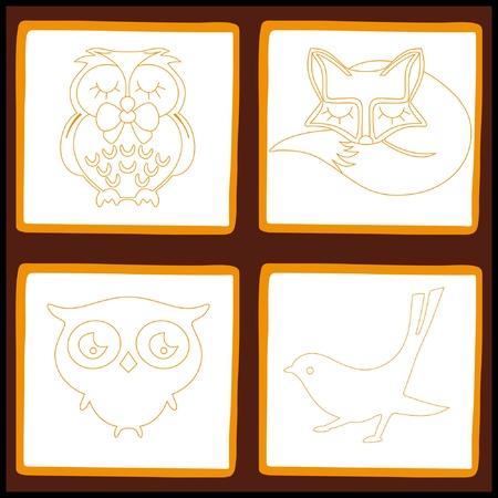 Domestic animals set, vector illustration