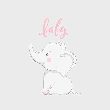 Ilustración de Cute vector illustration with elephant and baby text - Imagen libre de derechos