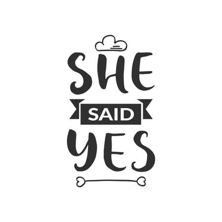 Illustration pour Hand drawn word. Brush pen lettering with phrase  she said yes  - image libre de droit