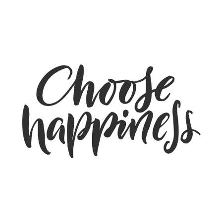 Illustrazione per Hand drawn word. Brush pen lettering with phrase  choose happiness  - Immagini Royalty Free