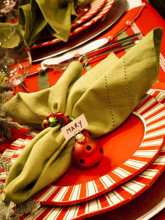 A table set for a holiday meal.