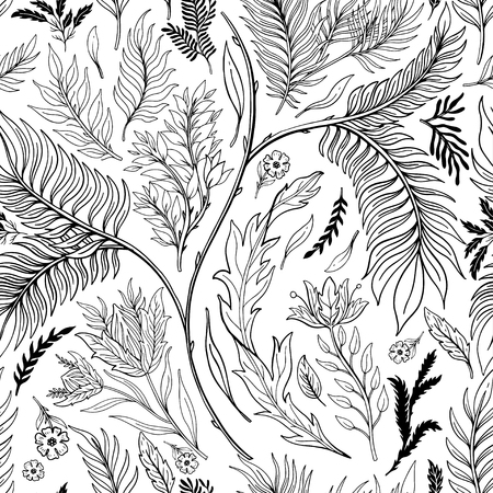 Ilustración de Abstract nature seamless pattern hand drawn. Ethnic ornament, floral print, textile fabric, botanical element. Vintage retro style. Image of flowers of leaves and other natural objects. Vector illustration. - Imagen libre de derechos