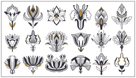Illustration pour Art nouveau and art deco floral ornaments, modern flower vintage elements. Retro decoration style. Symbol tattoo. Vector illustration. - image libre de droit