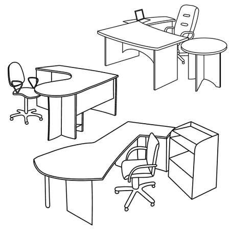 Illustration pour Workplace interior sketch. Hand drawn office interior - image libre de droit