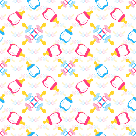 Foto für Baby bottle and Baby's dummy. Comforter seamless pattern background. Kids seamless pattern. EPS 10 - Lizenzfreies Bild
