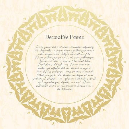Ilustración de Vintage gold round frame on a textural background. Vector illustration. - Imagen libre de derechos